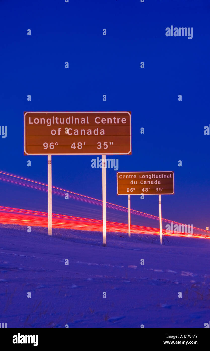 signage along Trans-Canada Highway east of Winnipeg during the winter, Manitoba, Canada - Stock Image