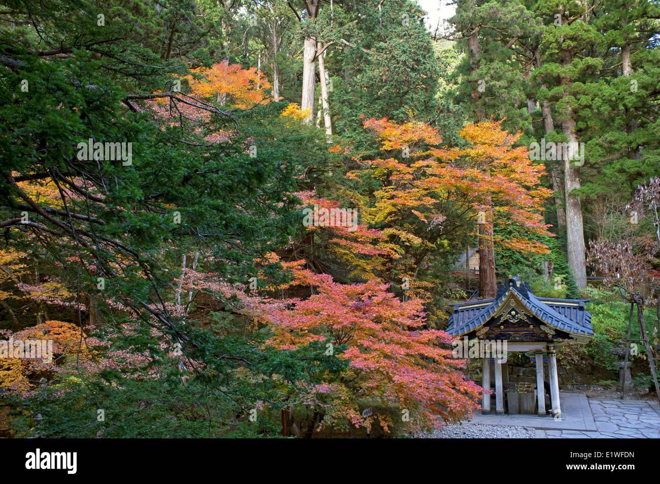 Purification pavilion in Futarasan Srine in Nikko, Japan - Stock Image