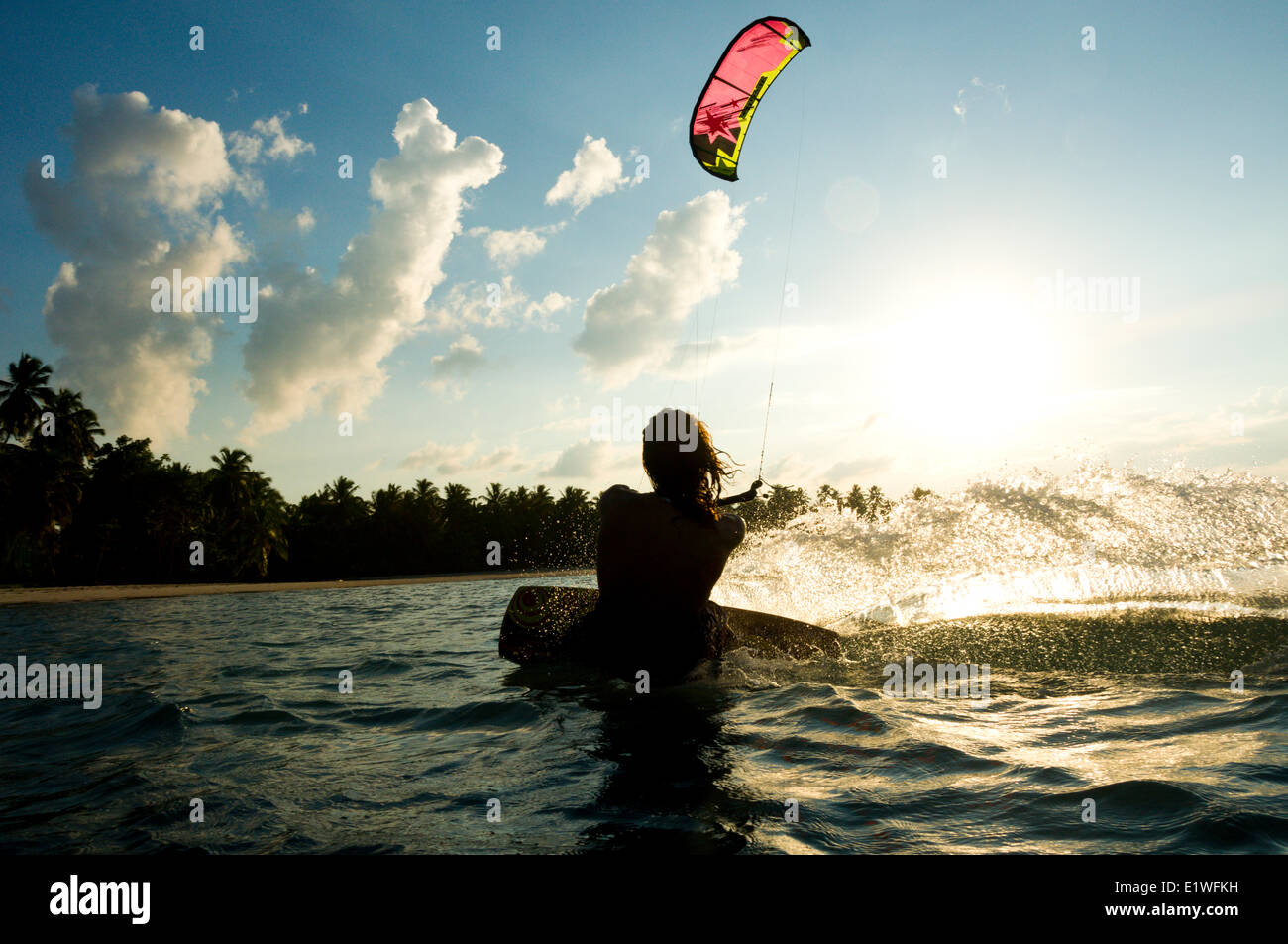 Kiteboarding in Las Terrenas, Dominican Republic - Stock Image