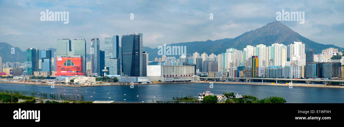 Panoramic skyline view of dense urban cityscape of Kowloon Bay in Hong Kong - Stock Image