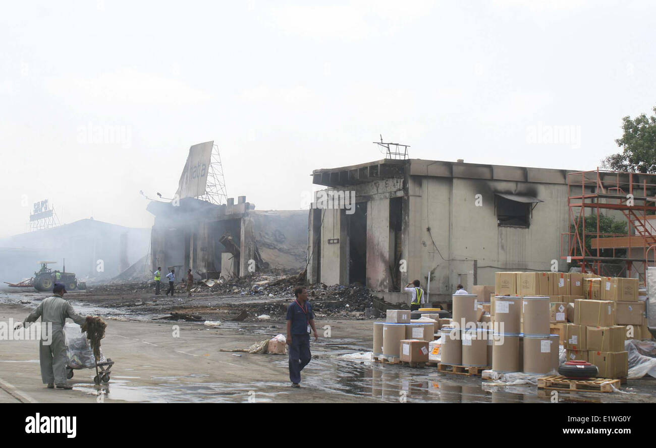 View of devastated cargo terminal burnt in suicidal blast