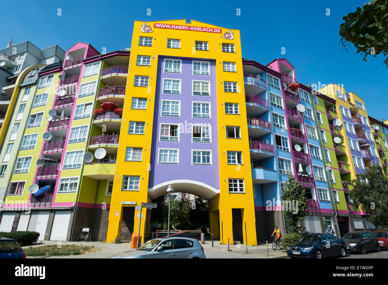 Colourful facade of apartment building in Berlin Germany - Stock Image