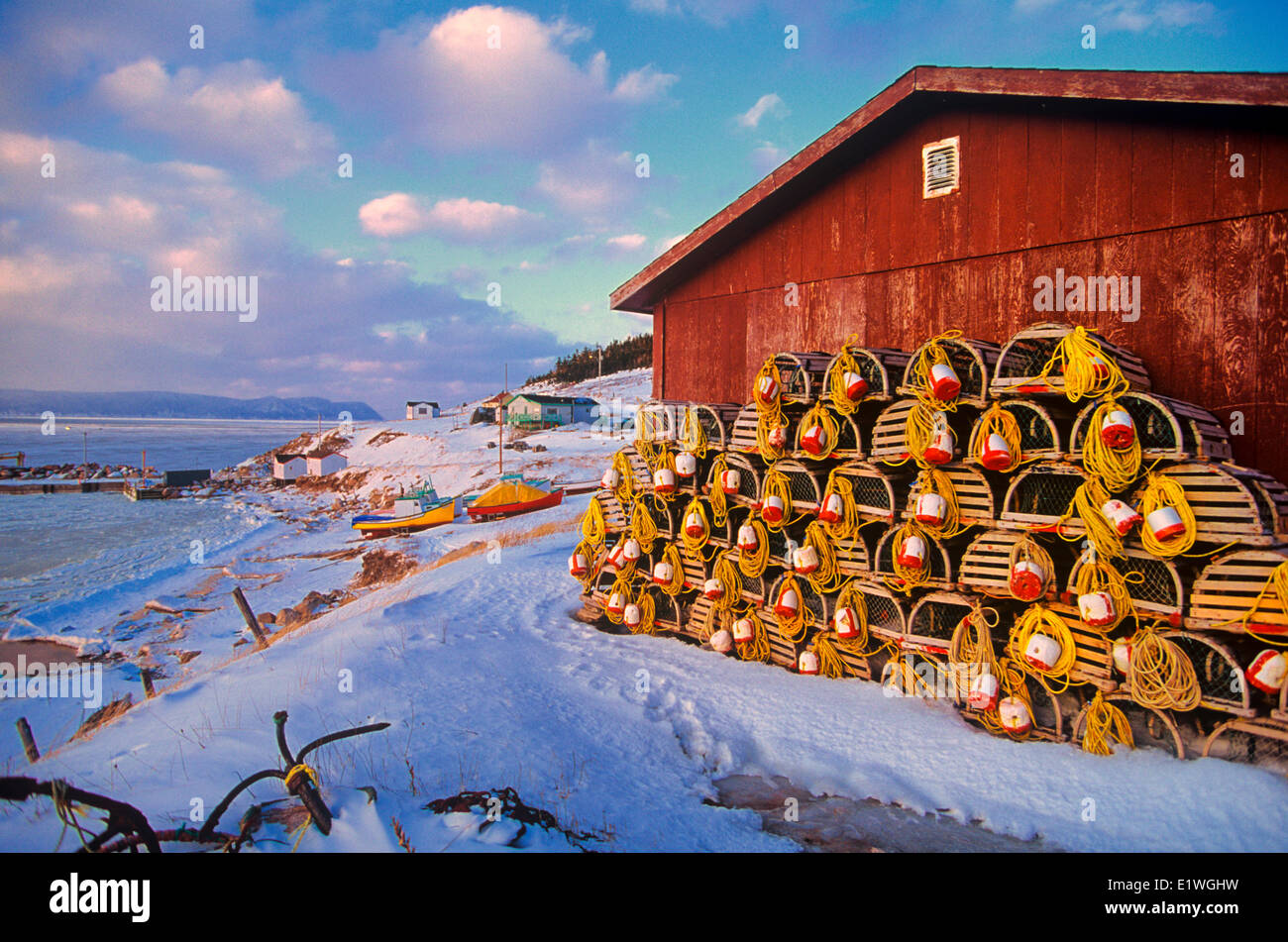 Lobster Traps in the winter time in maritime fishing village, Prince Edward Island, Canada - Stock Image