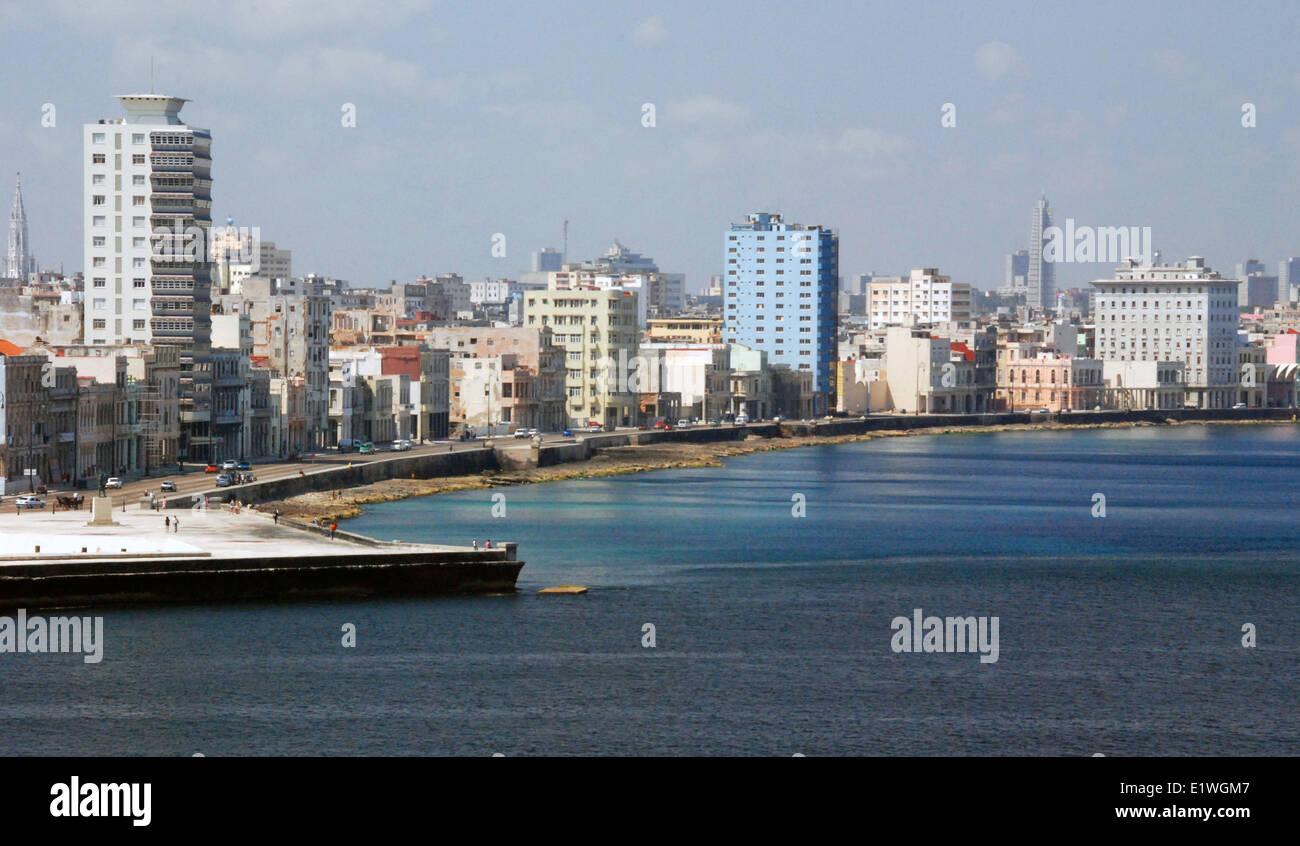 Waterfront, the Malecón, of Havana, Cuba - Stock Image