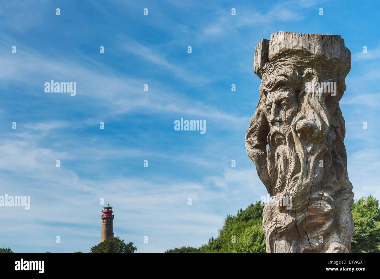 God sculpture Svantevit, Jaromarsburg at Cape Arkona, Wittow, Ruegen Island, Mecklenburg-Western Pomerania, Germany, - Stock Image