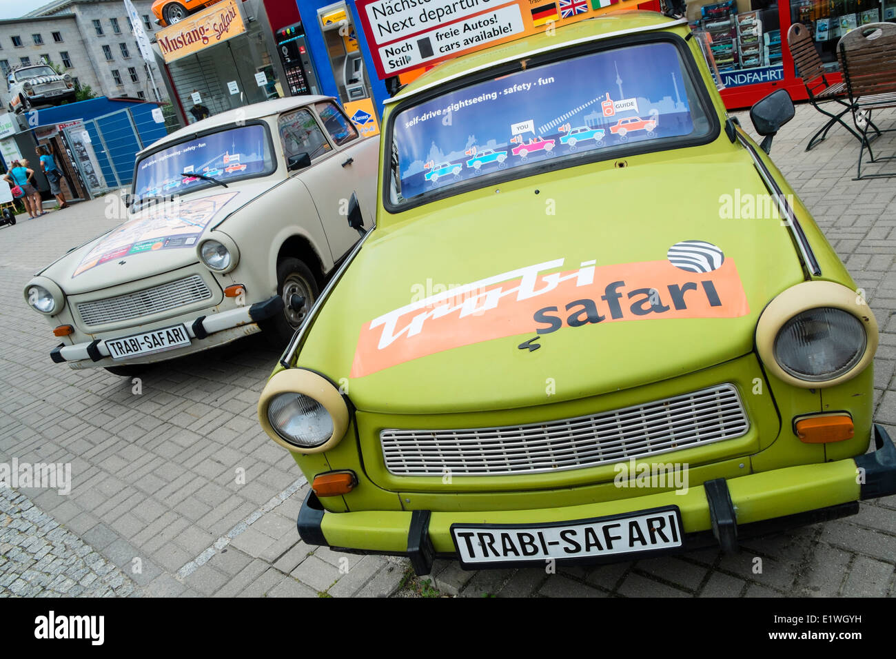 Trabi World guided tours by vintage East German Trabant cars in Berlin Germany - Stock Image