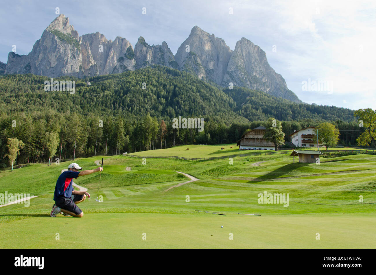 Golfclub St.Vigil Seis, Kastelruth, with Dolomite Mountains in background, Italy - Stock Image