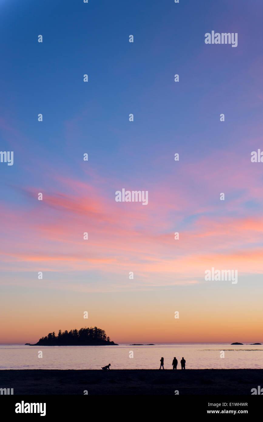 Visitors at sunset in sillouette, MacKenzie's Beach, Tofino, British Columbia, Canada - Stock Image