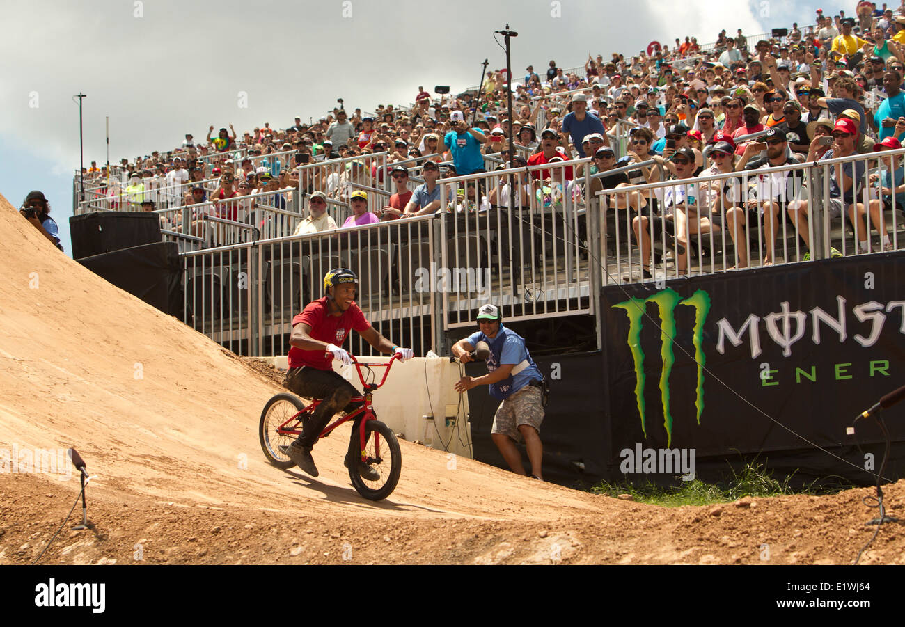 X-Games at the Circuit of the Americas held in Austin, Texas. T.J Ellis competes on the BMX bike circuit on Saturday, - Stock Image