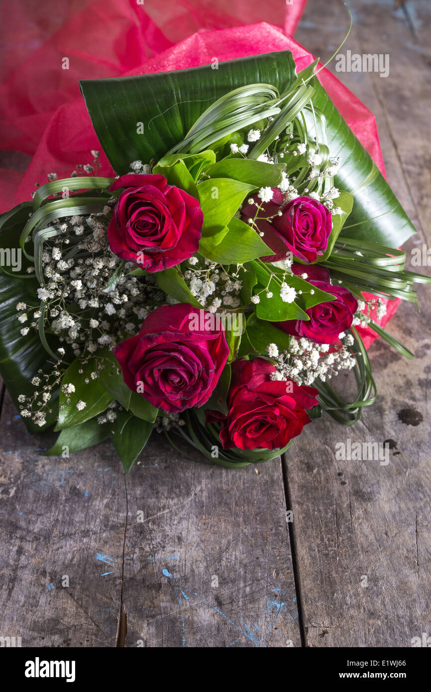Roses lying down on a wooden table, close up - Stock Image