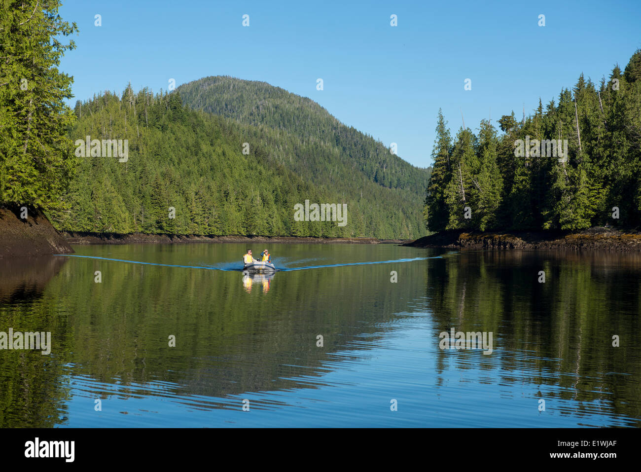 Yachter in small inflatable, Nimmo Bay Wilderness Resort, British Columbia, Canada - Stock Image