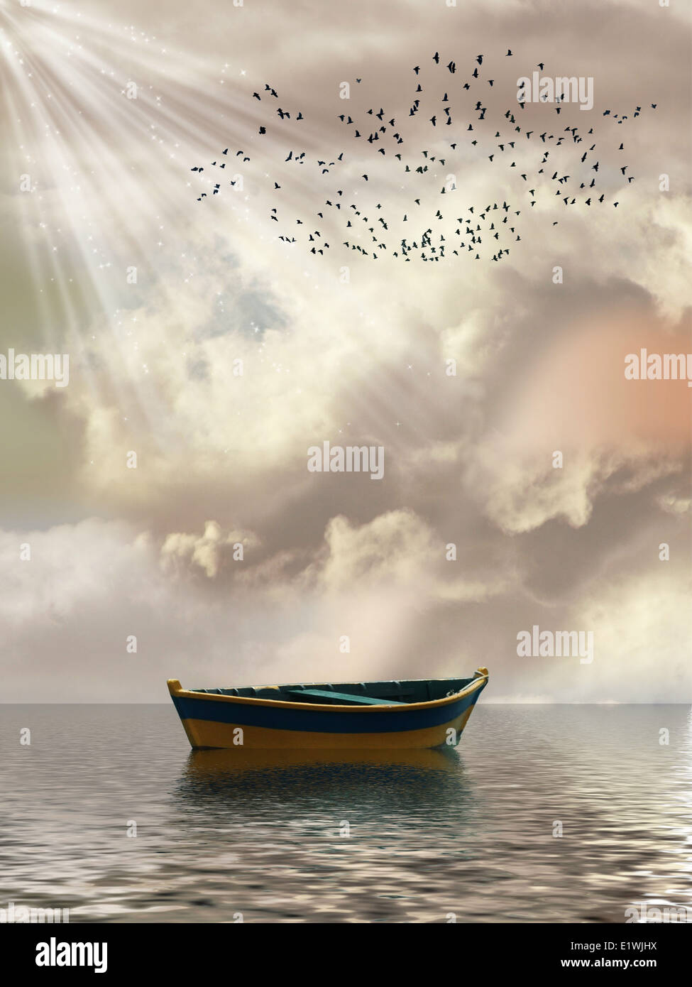 Fantasy Landscape in the ocean with boat and birds Stock Photo