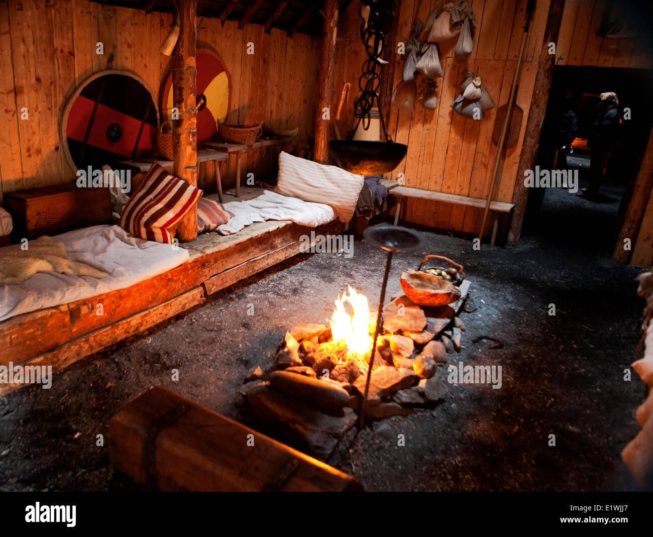 Amazing Viking Fireplace Part - 13: Lu0027Anse Aux Meadows, Viking Sleeping Quarters, Newfoundland - Stock Image