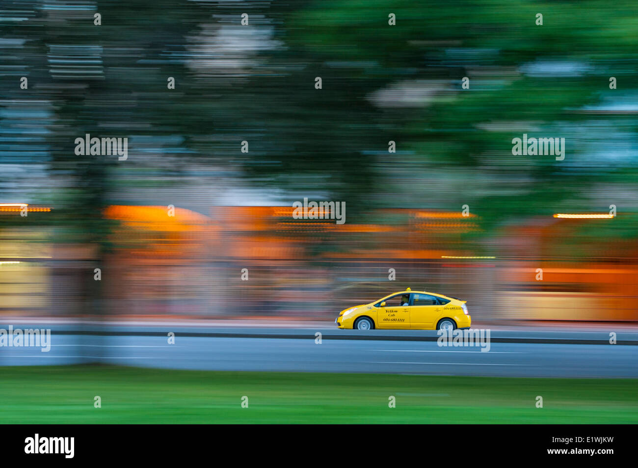 Taxi, Main Street Vancouver. - Stock Image