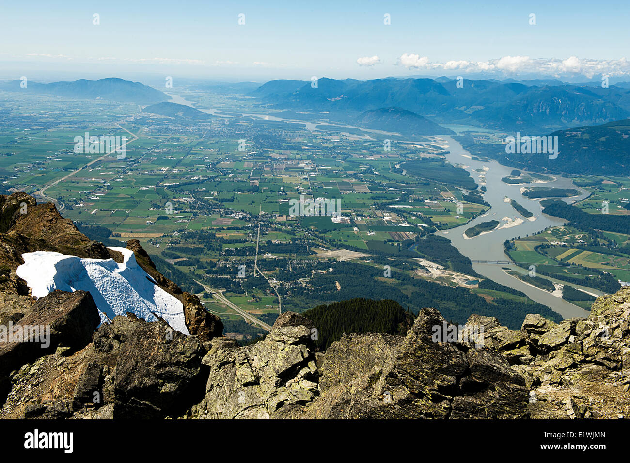 At The Top Of Mount Cheam Peak Looking Down Towards Chilliwack BC
