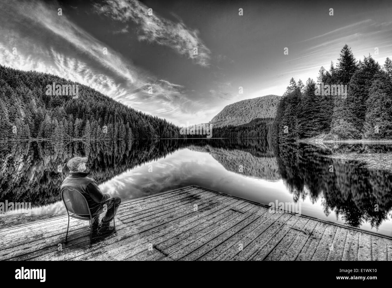 Watching the Winter Sunrise on Loon Lake-3 photo hdr Stock Photo