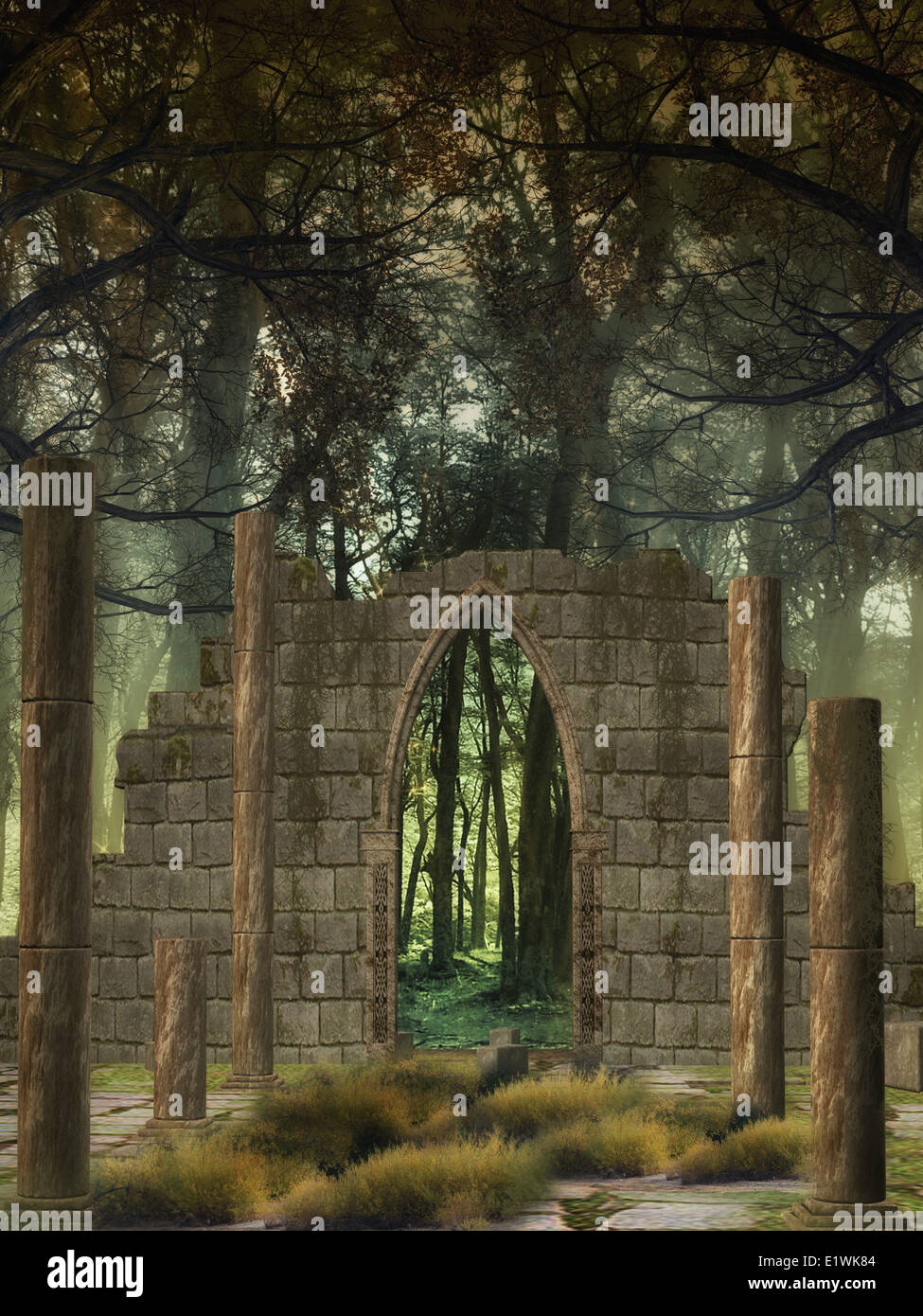 Fantasy Background in a forest with old structure - Stock Image