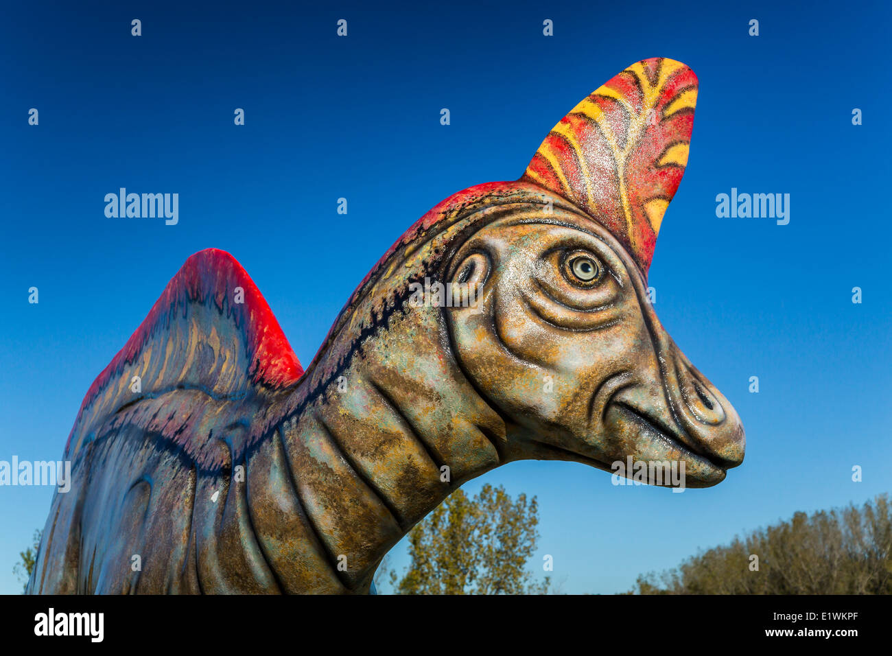 A roadside exhibit of dinosaurs at Madrid, Quebec, Canada. - Stock Image