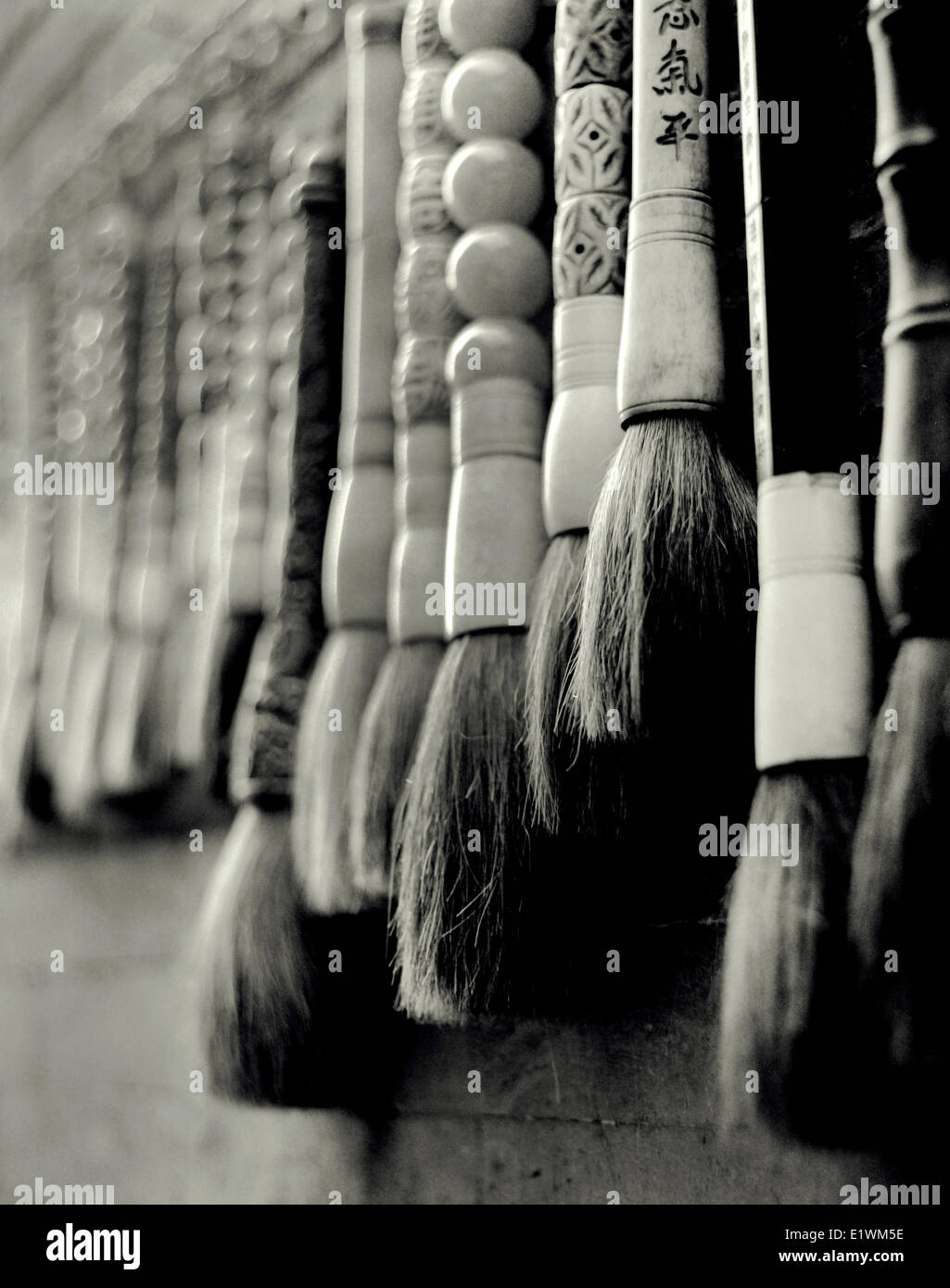 Chinese ink brushes on display on Liulichang street in Beijing - Stock Image