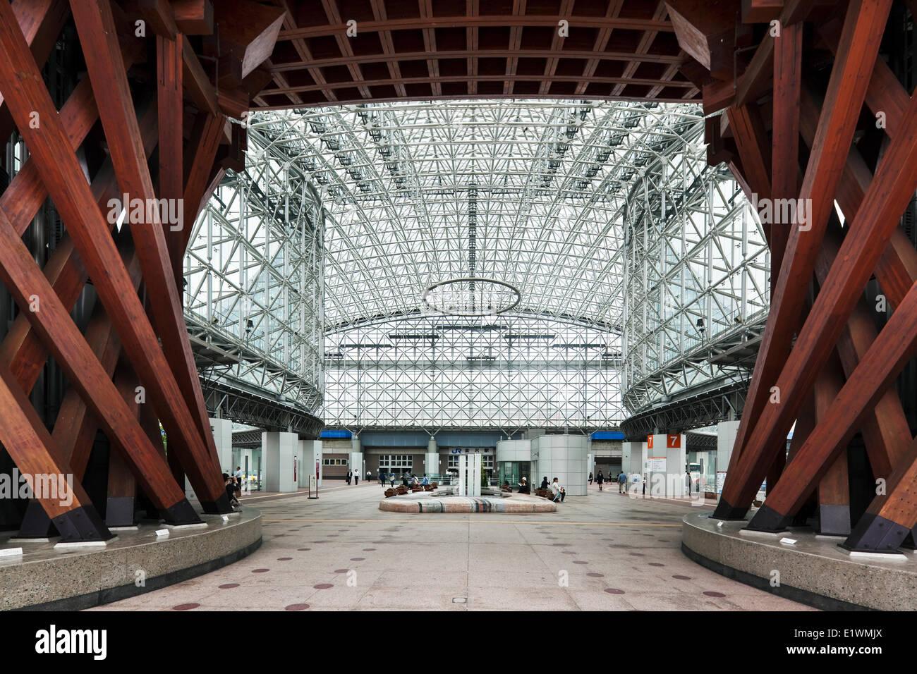 Kanazawa Station is a futuristic glass and steel train station on West Japan Railway's Hokuriku Line. - Stock Image