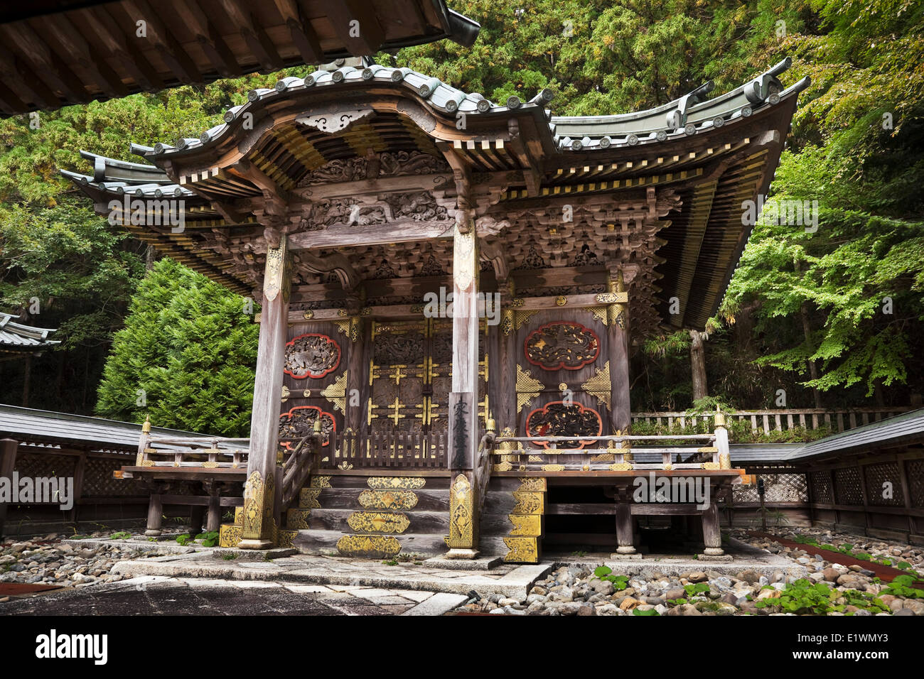 One two buildings that enshrine the remains Tokugawa leyasu's grandfather father respectively the first second - Stock Image
