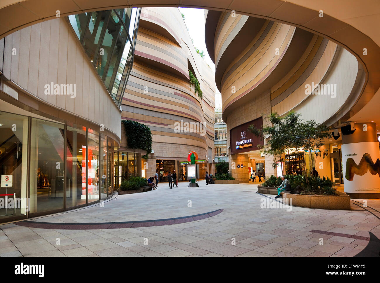 Replica of the Grand Canyon that runs through the middle of Namba Parks shopping mall in Osaka, Japan. The office - Stock Image