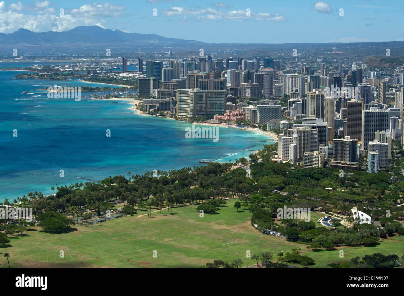View of Waikiki tourist area of Honolulu from Diamond Head mountain - Stock Image