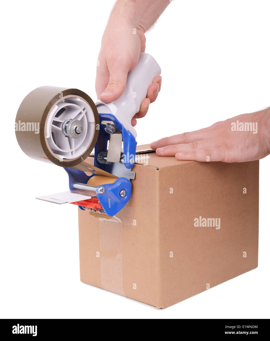 box being tapped up ready for transport isolated on a white background - Stock Image