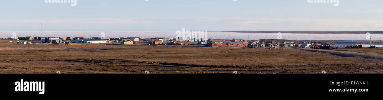 A panoramic of Gjoa Haven, Nunavut, Canada. - Stock Image