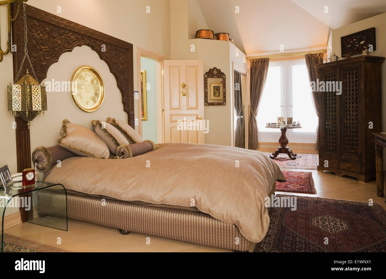 Queen Size Bed In The Moroccan Style Decorated Master Bedroom Inside A Residential Home Quebec Canada This Image Is Property