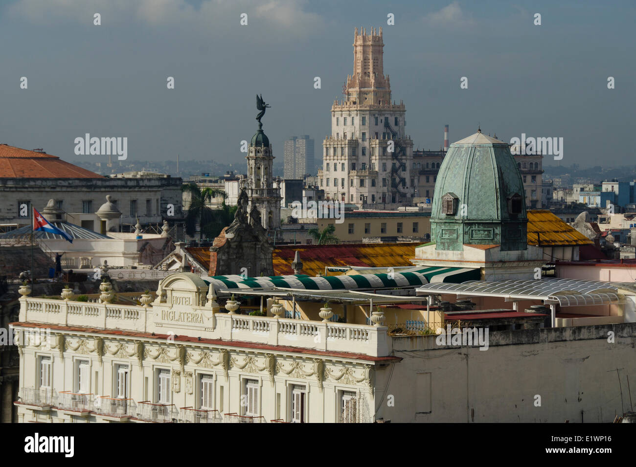 View from rooftop of Hotel Park central, Hotel Inglaterra, Telephone Building tower, Havana, Cuba - Stock Image