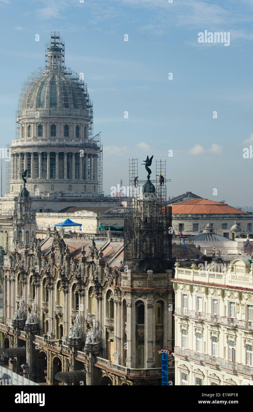 View from rooftop of Hotel Park central, Hotel Inglaterra, renovation on Opera House and Capitolio, Havana, Cuba - Stock Image