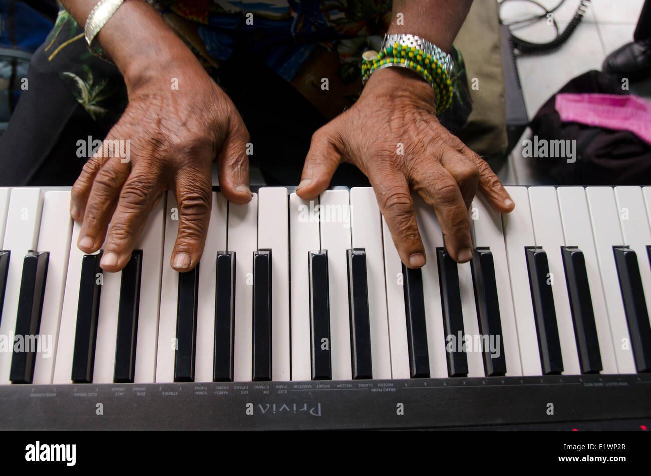 Hands and piano keyboard, Havana, Cuba - Stock Image