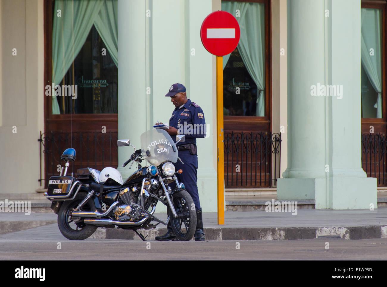 Motorcycle Policeman, Havana, Cuba - Stock Image