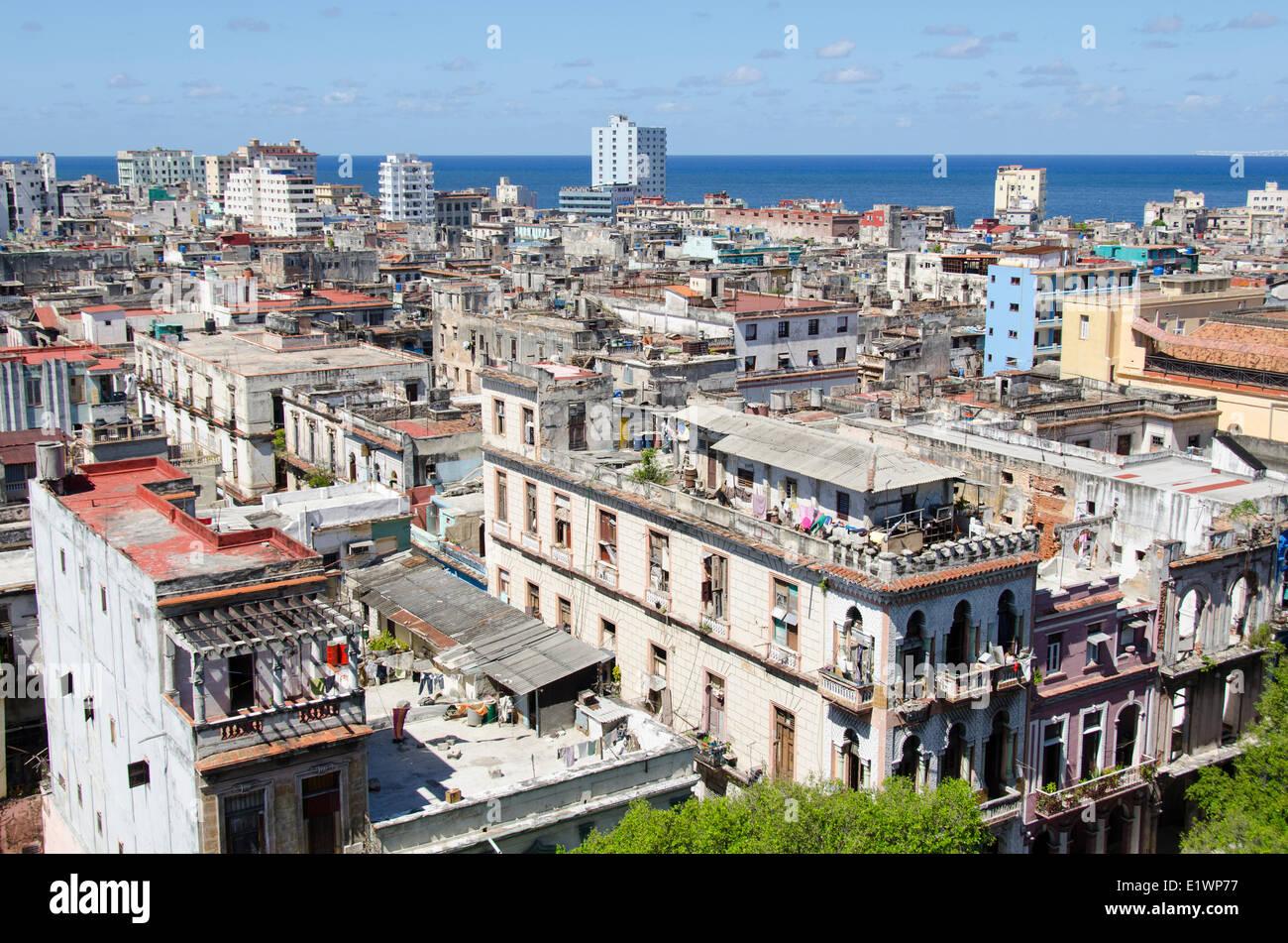 Rooftops towards the Malecon, Havana, Cuba - Stock Image