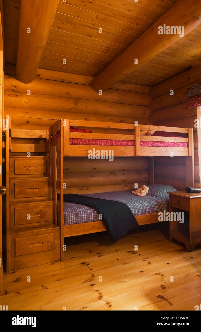 Children S Bedroom With A Bunk Bed Nside A Residential Log Home