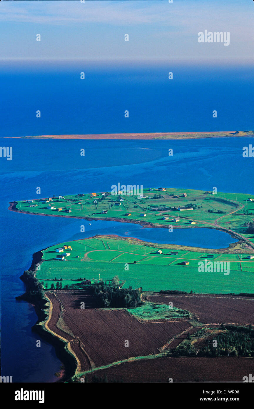 Aerial of Hebrides, New London Bay,  Prince Edward Island, Canada Stock Photo