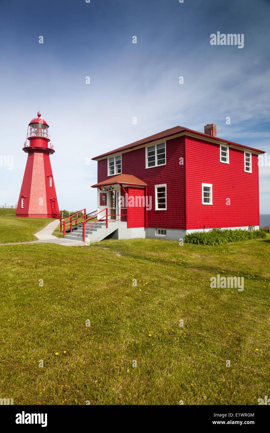 La Martre lighthouse on the Gaspe Peninsula, Quebec, Canada - Stock Image