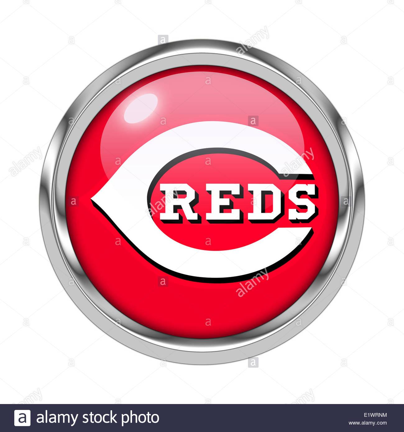 Cincinnati Reds icon logo isolated app button - Stock Image