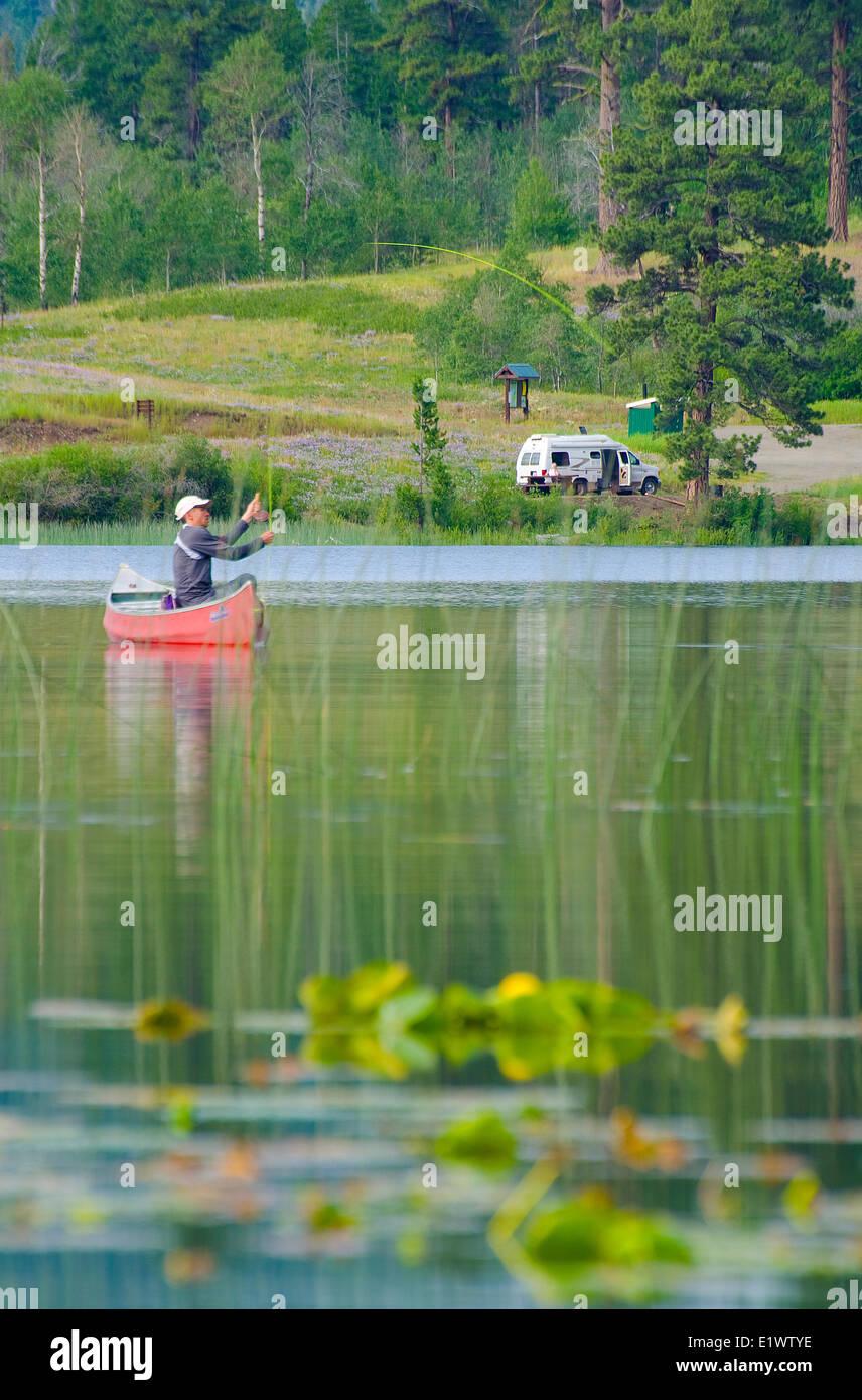 Fly fishing Harmon Lake, near Merritt, British Columbia, Canada. Stock Photo