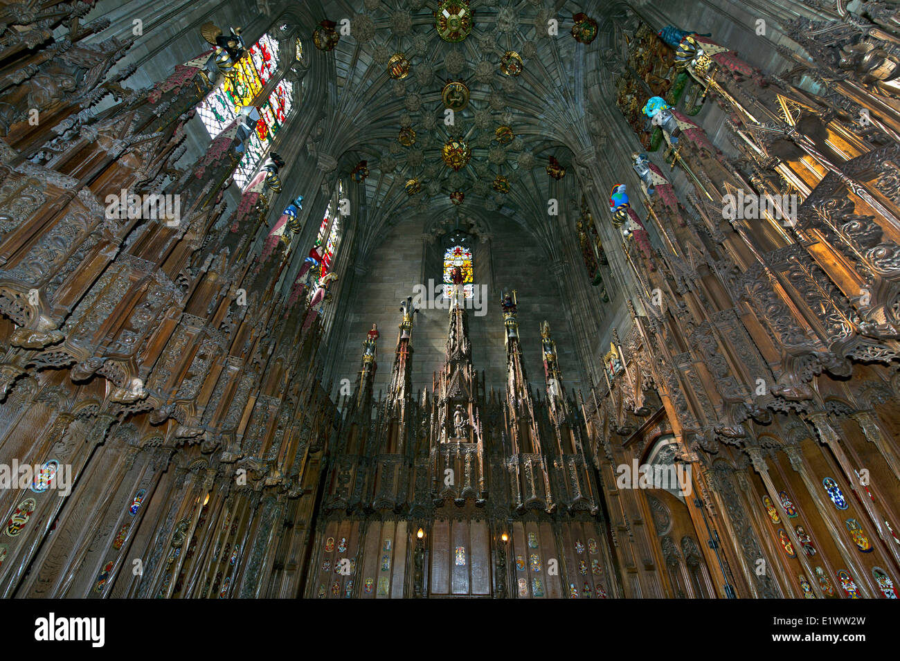 Interior with carved wooden walls of Thistle Chapel in St. Giles' Cathedral in Edinburgh, Scotland, UK - Stock Image