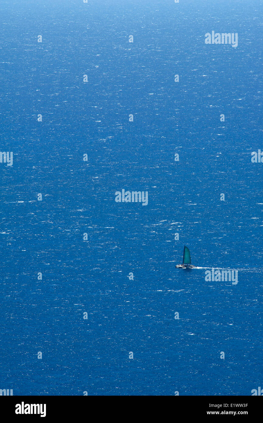 Sail boat on a windy day in Oahu, Hawaii, USA - Stock Image