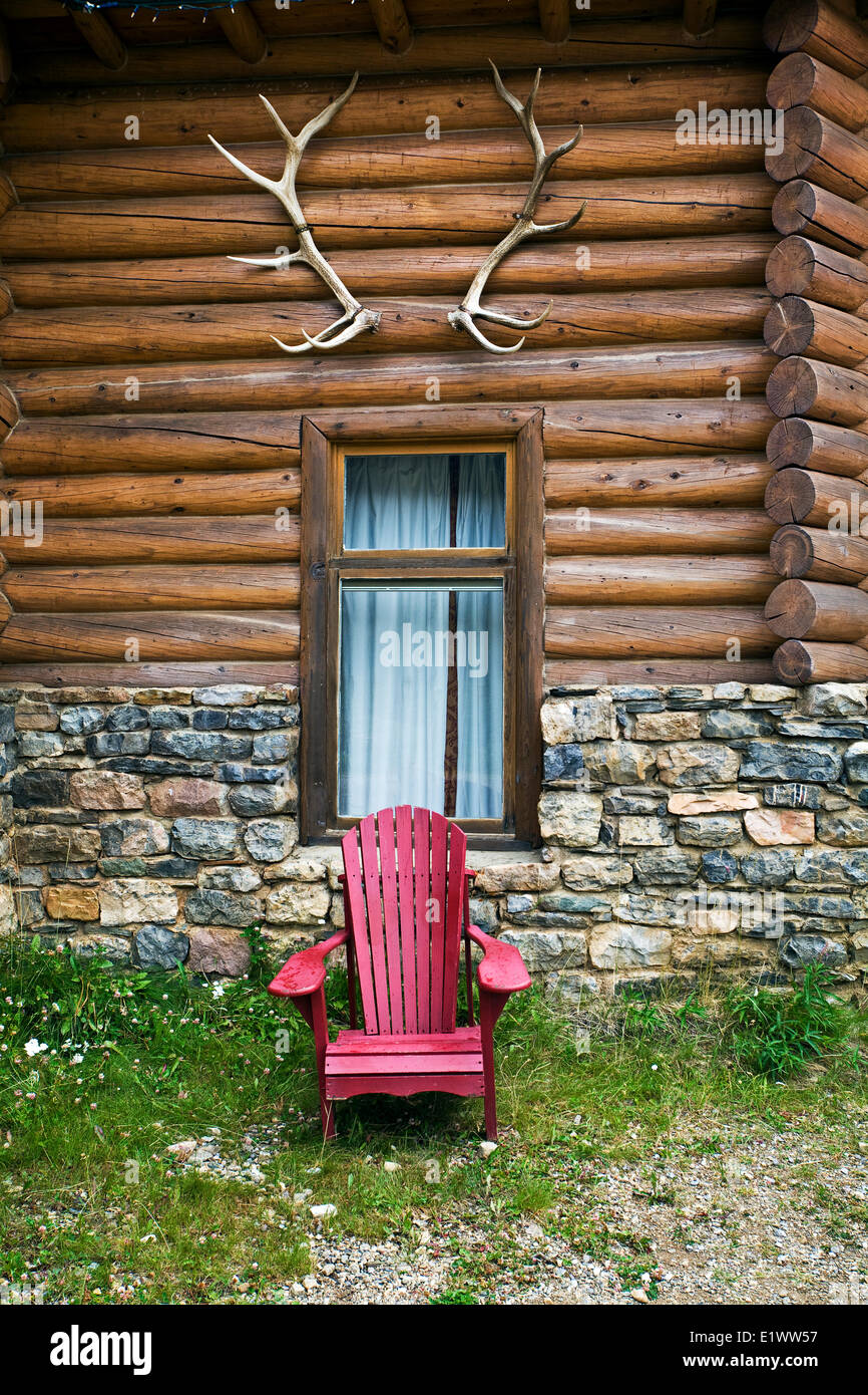 Deck chair at Num-Ti-Jah lodge, Banff National Park, Alberta, Canada. - Stock Image