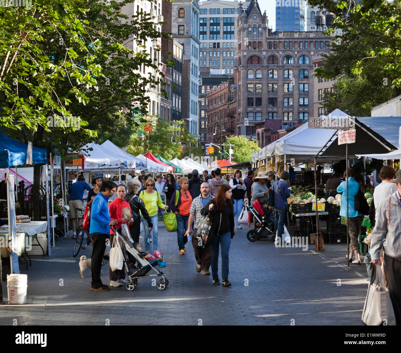Union Square Greenmarket is a farmers market that is held four days a week in Union Square Park and where up to - Stock Image