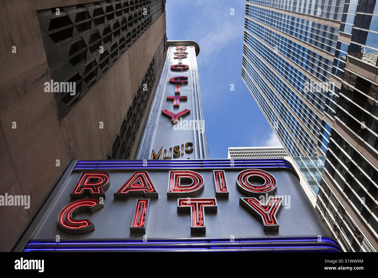 Low angle view of the marquee at Radio City Music Hall, New York City, New York, U.S.A. - Stock Image