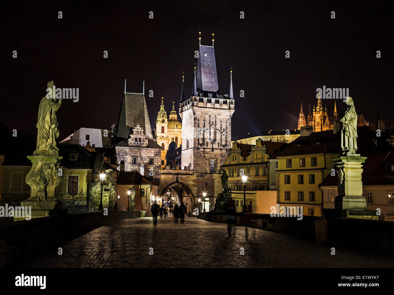 Prague, Czech Republic, Charles Bridge, Prague Castle, - Stock Image