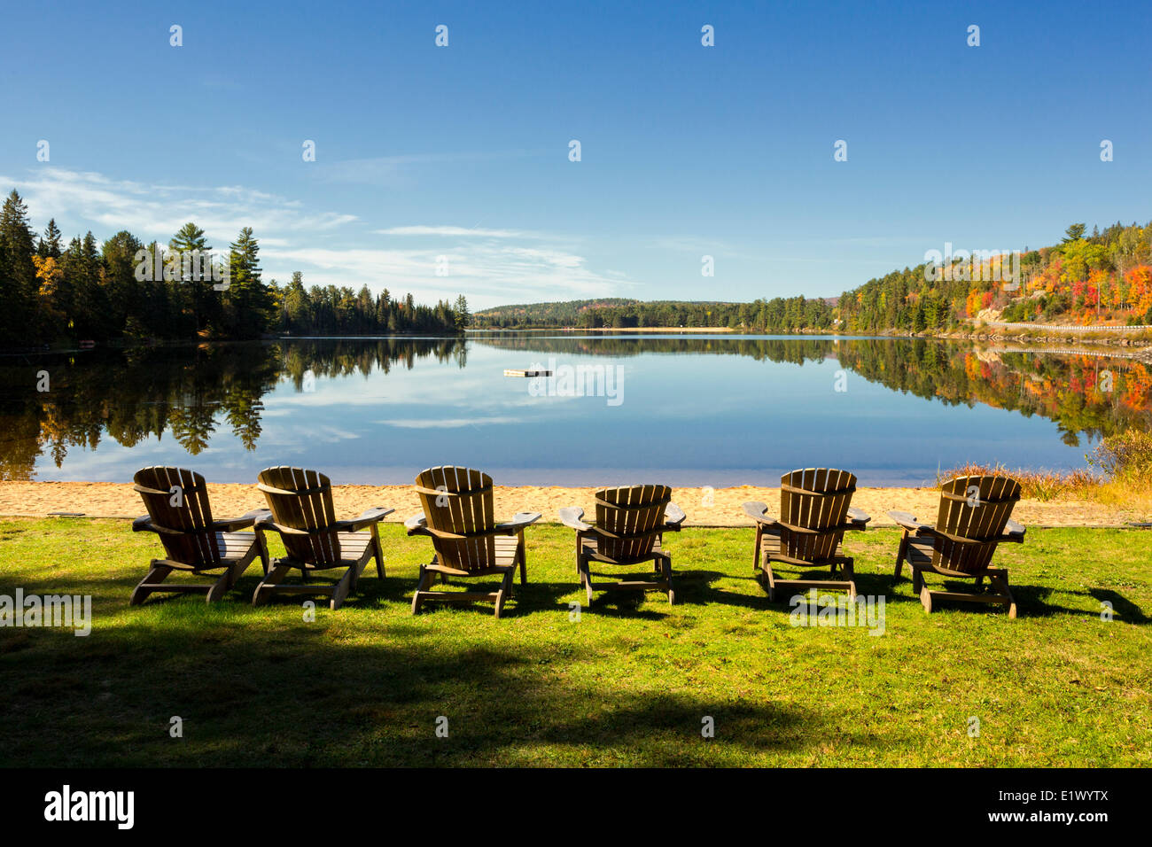 Muskoka chairs, Lake of Two Rivers, Killarney Lodge, Algonquin Provincial Park, Ontario, Canada - Stock Image