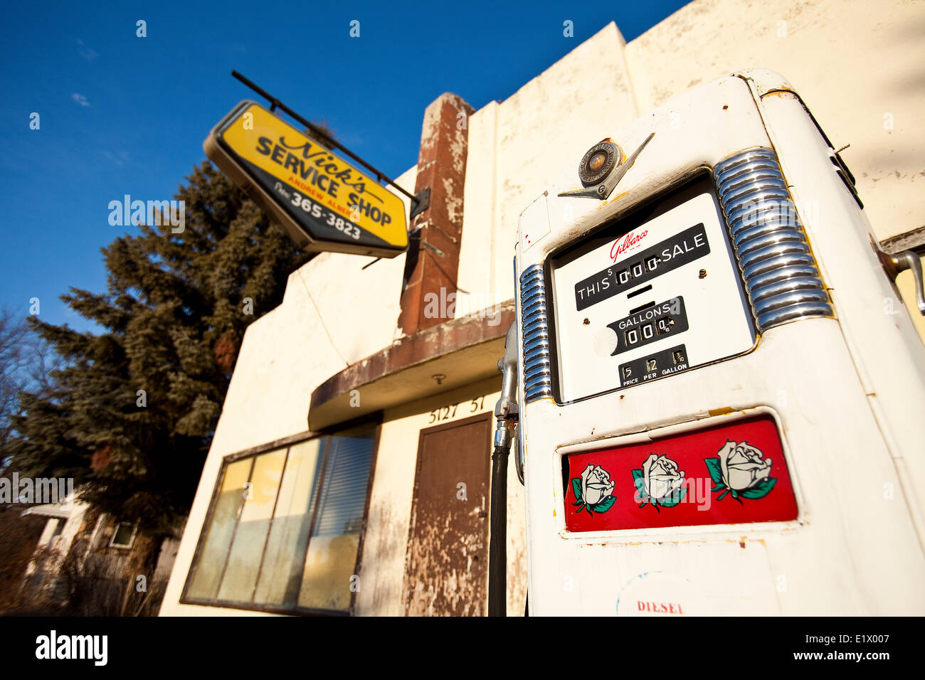 Gas Station For Sale In Alberta >> Old Gas Pump And Gas Station Alberta Canada Stock Photo
