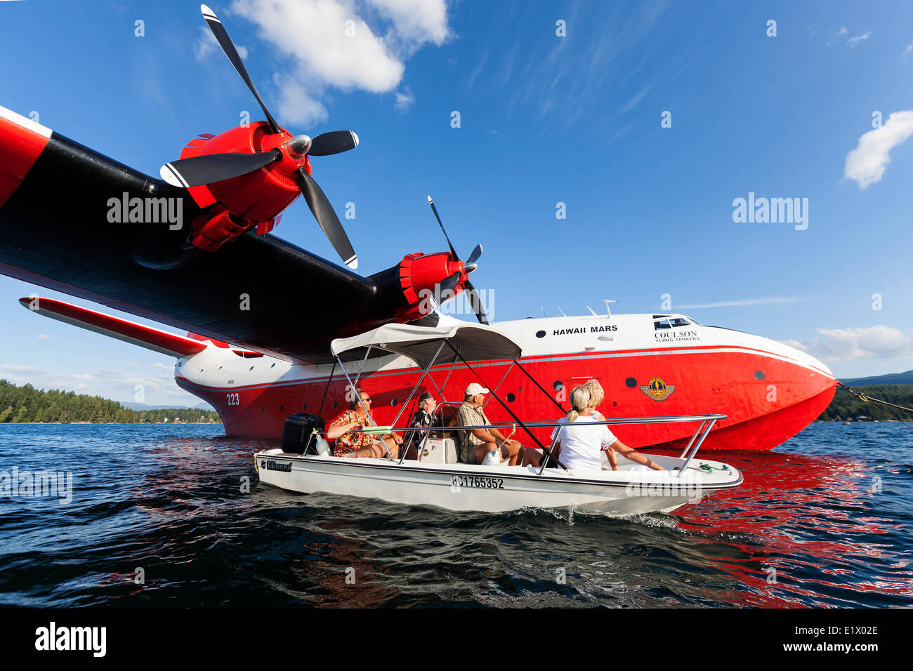 The huge Martin Mars Water Bombers are a popular tourist draw at their home base on Sproat Lake in Port Alberni. - Stock Image