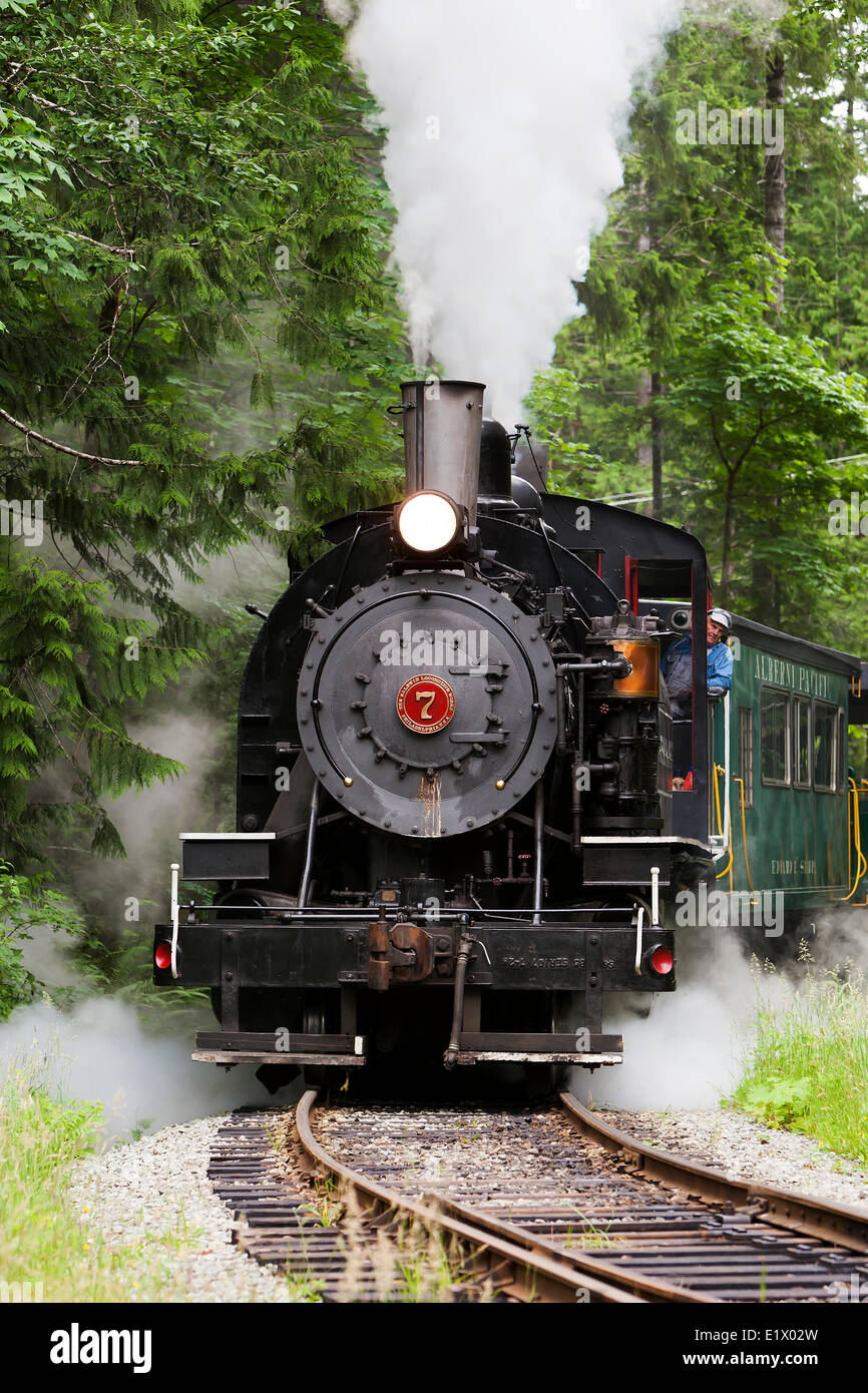 A completely restored 1929  Baldwin 90 ton steam locomotive provides the pulling power for the Alberni Pacific Steam - Stock Image
